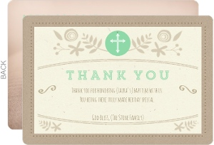 mint and kraft floral baptism thank you