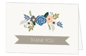Soft Blue Taupe Floral Bridal Thank You