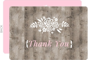 Brown And Pink Wood Bridal Thank You