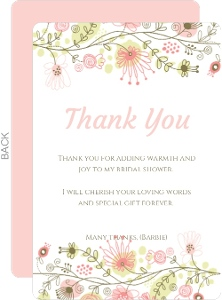 Spring Floral Border Bridal Thank You
