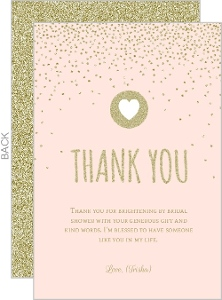 Peach And Gold Glitter Bridal Thank You