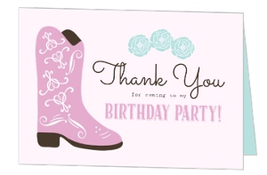 Cowgirl Kids Birthday Thank You Card