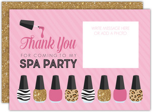 Faux Glitter & Prints Spa Thank You Card