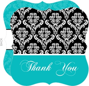 Turquoise And Black Damask Sweet 16 Thank You