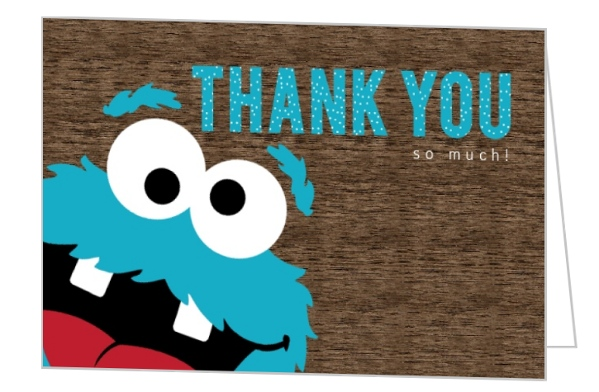Turquoise Goofie Cookie Monster Thank You Card | Birthday ...