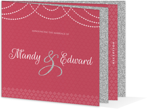 Elegant Pink Royal Pattern Wedding Booklet Invitation