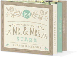 Rustic Mint and Kraft Wedding Booklet Invitation