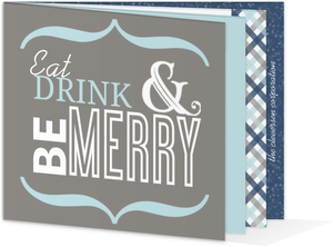 Blue and Gray Modern Gingham Business Holiday Party Invite