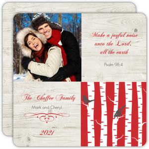 Wintry Woods Religious Christmas Photo Card