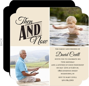 Then And Now Photo Squares 75Th Birthday Invitation