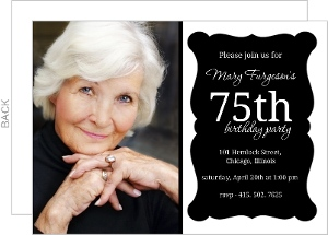 Elegant Black Frame 75Th Birthday Invitation