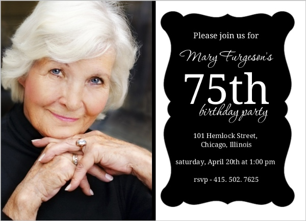 Elegant Black Frame 75Th Birthday Invitation 75th Birthday Invitations