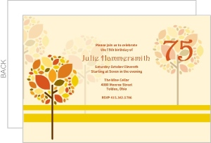 Autumn Trees 75Th Birthday Invitation