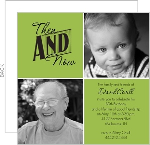 Then And Now Photo Squares 80Th Birthday Invitation