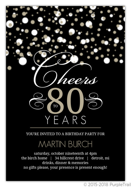 Black and Taupe Elegant Confetti 80th Birthday Invitation | 80th Birthday Invitations