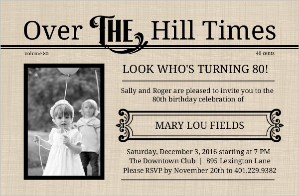 Over the hill times 80th birthday invitation 80th birthday invitations over the hill times 80th birthday invitation stopboris Choice Image