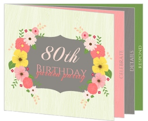 Garden Themed 80Th Birthday Invitation