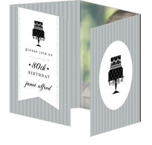 Gray And Black Cake 80Th Birthday Invitation