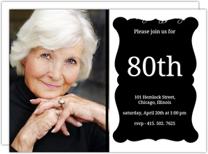 Elegant Black Frame  80th Brithday Invitation