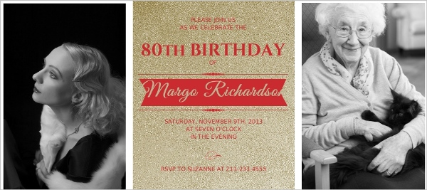 Elegant Gold And Red 90Th Birthday Invitation