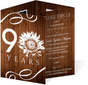 Western Sunflower 90Th Birthday Invitation