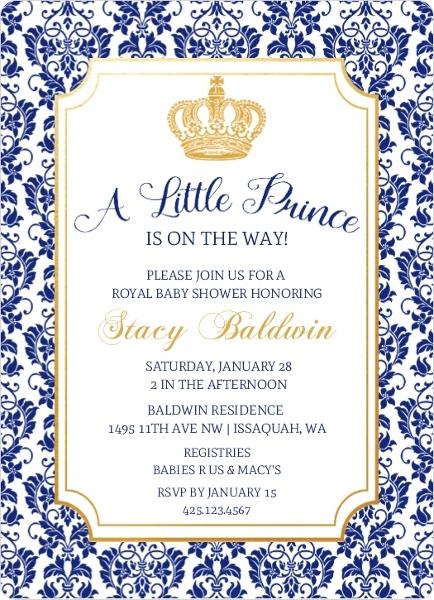 Little Prince Damask Pattern Baby Shower Invitation Boy Baby
