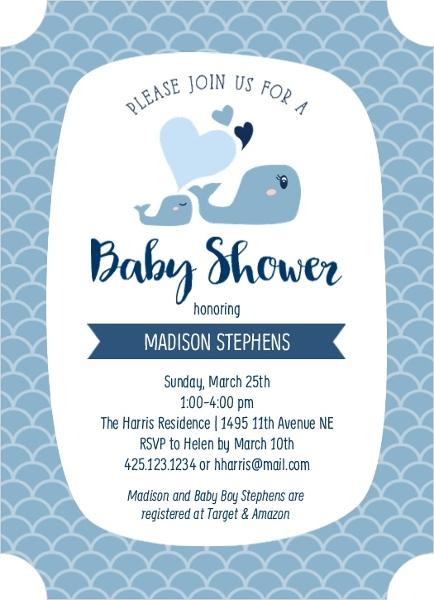 Blue Whale Baby Shower Invitation Boy Baby Shower Invitations