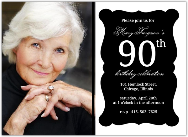 Elegant Black Frame 90th Birthday Invitation
