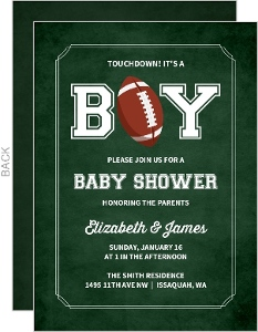 Green Chalkboard Football Baby Shower Invitation