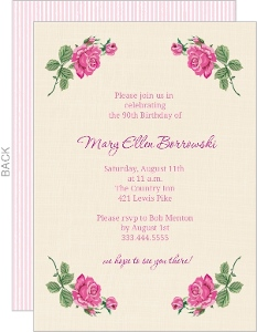 Cream Floral Set 90Th Birthday Invitation