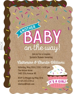 Sprinkle Cupcake Girl Baby Shower Invitation