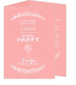 Vintage Rose Trifold 100th Birthday Invitation 100th Birthday