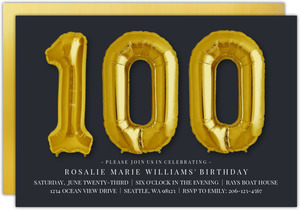 Giant Golden Balloons 100th Birthday Invitation