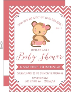 Pink Chevron Diaper Monkey Baby Shower Invitation