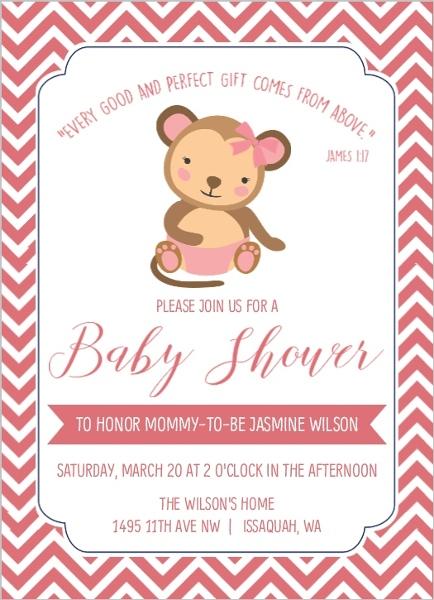 Pink chevron diaper monkey baby shower invitation girl baby shower pink chevron diaper monkey baby shower invitation filmwisefo