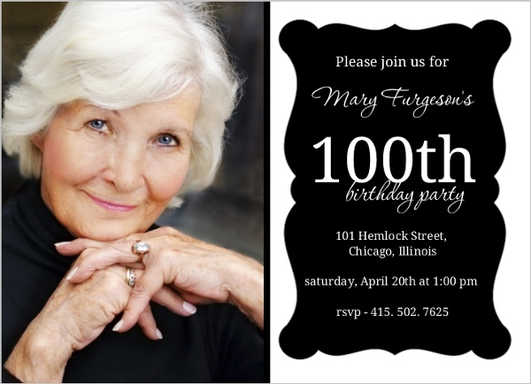 Elegant Black Frame 100Th Birthday Invitation 100th Birthday