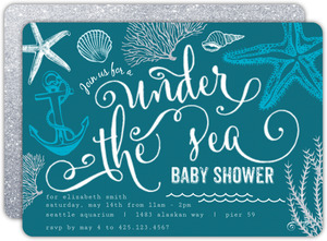 Teal Sketchy Under The Sea Baby Shower Invitation