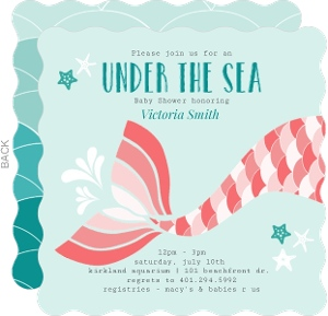 Teal and Coral Mermaid Fin Baby Shower Invitation
