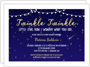 Twinkle In The Night Sky Baby Shower Invitation