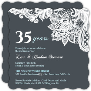 Blue and White Lace 35th Anniversary Invitation