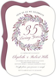 Elegant Watercolor Wreath 35th Anniversary Invitation