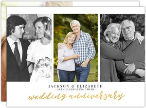 Elegant Gold Script Photo Collage 35th Anniversary Invitation
