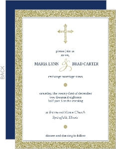 Navy And Gold Faux Glitter Formal Wedding Invitation