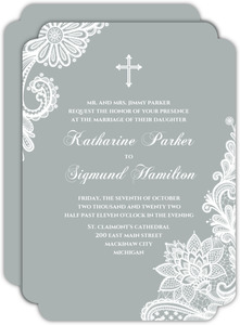 Beautiful White Lace Religious Wedding Invitation
