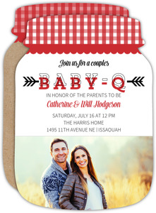 Mason Jar Baby-Q Baby Shower Invitation