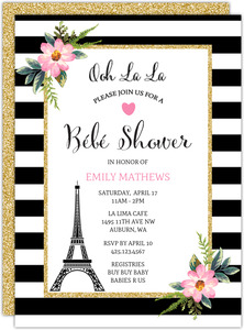 Paris Striped Floral Baby Shower Invitation