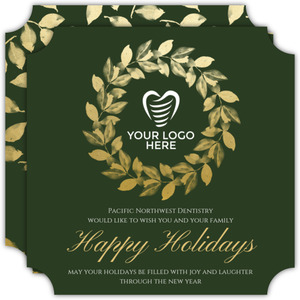 Elegant Faux Gold Wreath Business Holiday Card