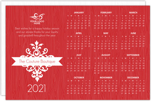 Modern Red Business Calendar Holiday Card