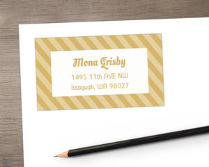 Gold Stripes Address Label