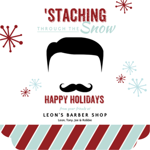 Retro Mustache Beauty and Spa Business Holiday Greeting